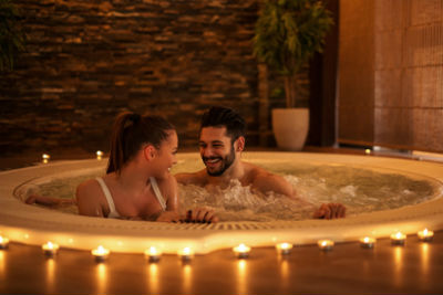 Romantic Couple in Hot Tub