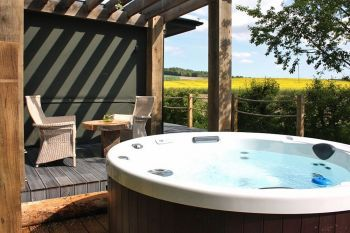 Luxury lodges with private hot tubs and a view of the Chilterns, Oxfordshire, England
