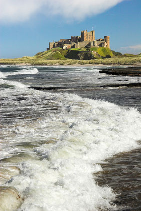 See Bambrugh Castle in Northumberland when on a self-cateirng holiday
