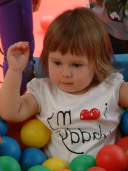 Toddler enjoy soft play on holiday
